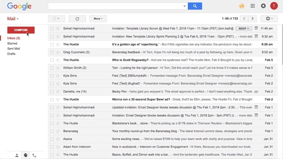 Outlook VS Google Mail gmail screenshot